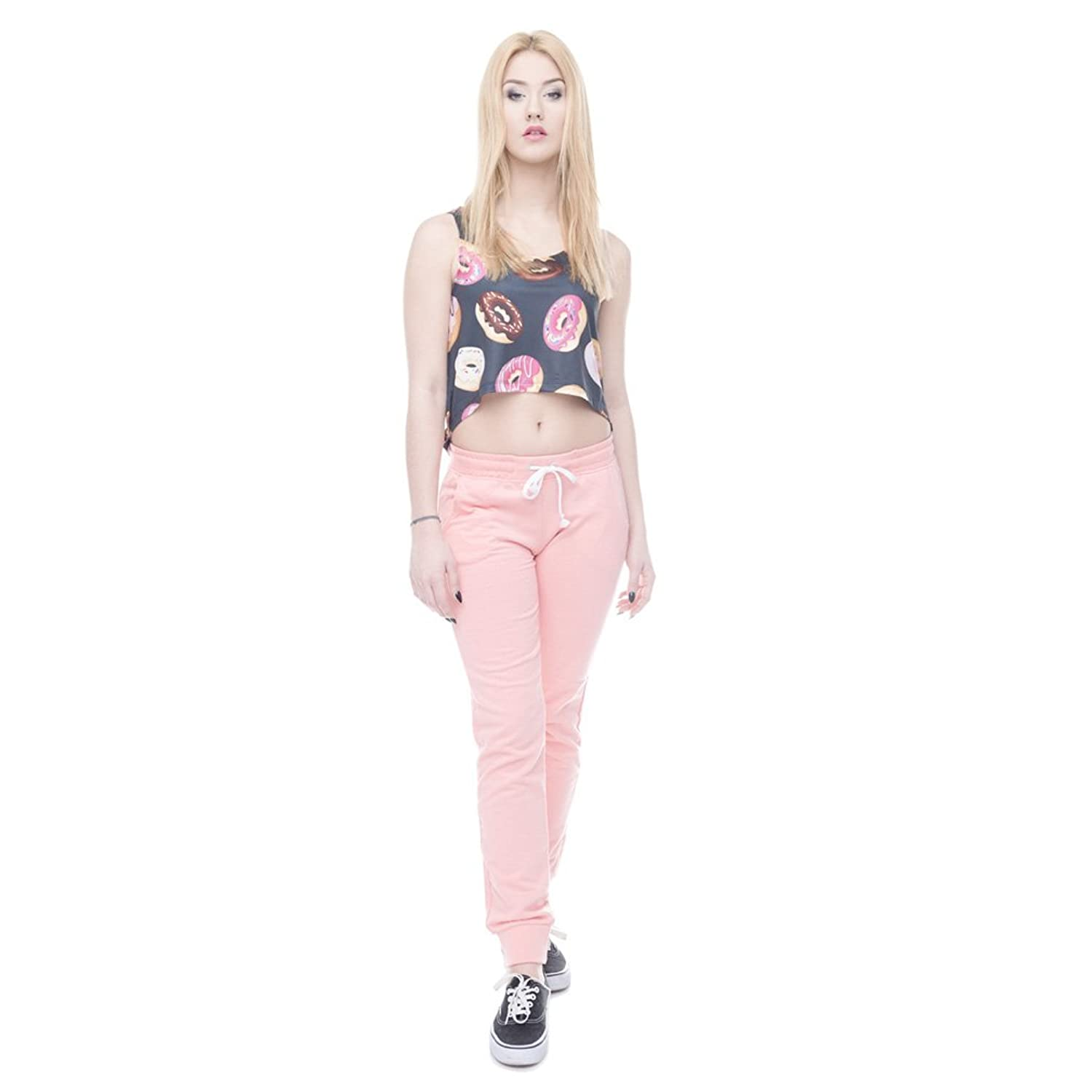 2016 Summer Cool Tank Crop Tops 3D Black Donuts Print for Women