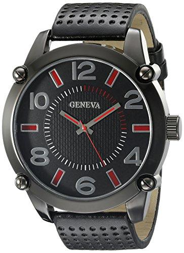 Geneva Black Leather Watch - 9