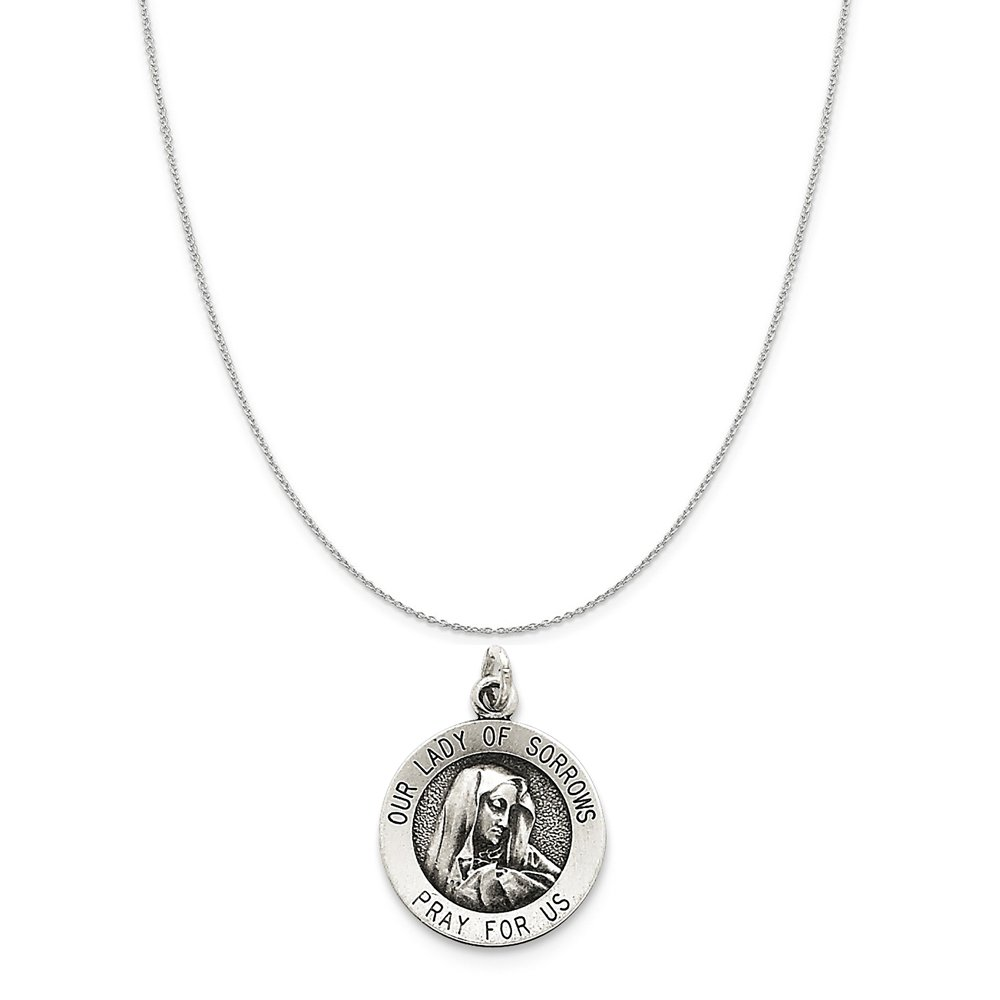 Sterling Silver Antiqued Our Lady Of Sorrows Medal on a Sterling Silver Cable Snake or Ball Chain Necklace