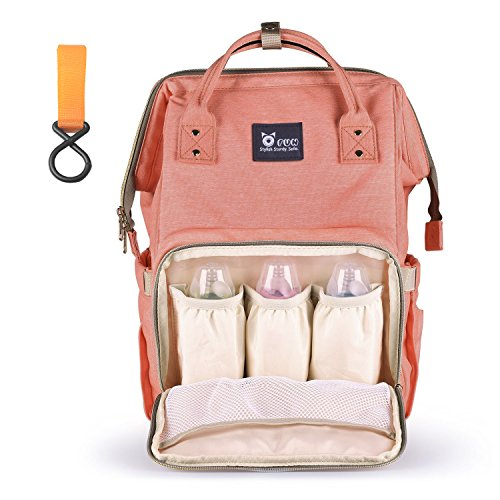 OFUN Diaper Bag Backpack, Diaper Bags with Stroller Straps for Mom Dad, Multi-Function Waterproof Baby Nappy Changing Bag with Insulated Pockets, Large Capacity Travel Backpack, Orange