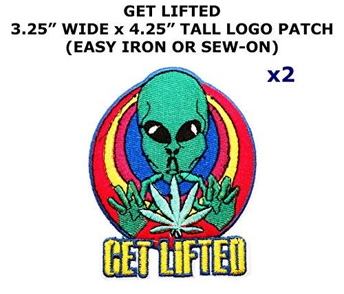 Diy Girl Joker Costume (2 PCS Get Lifted Alien Space Theme DIY Iron / Sew-on Decorative Applique Patches)