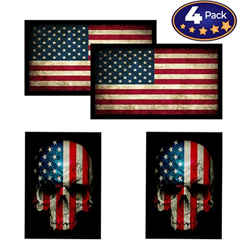 Accessories American Cycle (American Flag & Skull Flag HardHat & Helmet Stickers: 4 Decal Value Pack. Great for Motorcycle Biker Helmet, Construction Toolbox, Hard hat, Mechanic Shop & More. Great Gift for Any Patriot. USA Made)