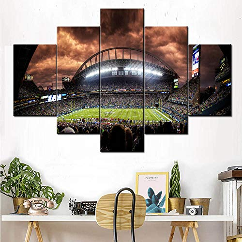 5 Piece Canvas Wall Art The Seattle Seahawks Pictures American Football Paintings 5 Panel Canvas Artwork Home Decor for Living Room,Giclee Wooden Framed Ready to Hang Posters and Prints(60