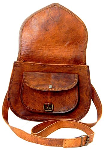 92dd351b3057 Firu-Handmade Women Vintage Rustic Retro Style Genuine Brown Leather Cross  body Shoulder Bag Handmade