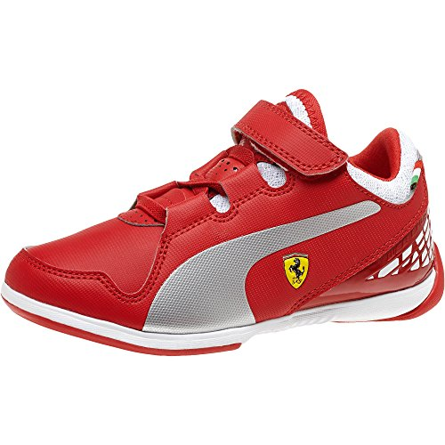 PUMA Valorosso Ferrari Hook-and-Loop Sneaker (Infant/Toddler/Little Kid) , Rosso Corsa/Silver Metallic/White, 6 M US - Collection Ferrari White