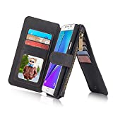 Galaxy Note 5 Case, Vintage Real Genuine Leather Wallet Case for Samsung Galaxy Note5, with Card Pocket Zipper Magnetic Flip Cover [2 in 1], Black