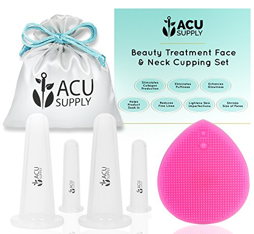 Face and Eye Cupping Massage Kit With Guidance by Therapist | Anti-Aging Face Lift Sessions That Works for Fine Lines, Wrinkles, Improves Collagen and Lymphatic Drainage by ACU Supply (Clear) (Face Anti Aging Set)