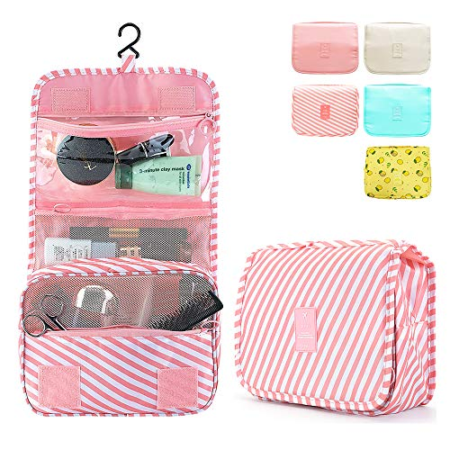 Hanging Waterproof Toiletry Multifunction Bag Large Capacity Suit for Cosmetics Sample/Toiletries/Medicine/Travel Accessory,Travel Organizer for Women and Girl(Pink Stripe)