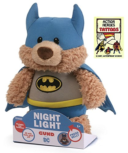 Gund Batman Nightlight 8 in Plush Animal with Action Heroes Temporary Tattoo (Temporary Tattoos Mascots)
