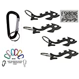 "4 Fishbone ""Piranha"" Paracord Knotless Rope & Gear Ties with Quick Access (1) Carabiner & Keyring"
