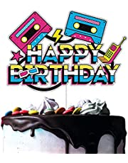 80's 90's Happy Birthday Cake Toppers Retro Hip Hop Theme Totally 1980s 1990s Party Decorations Born in the 80's 90's Decade Throwback Party Supplies