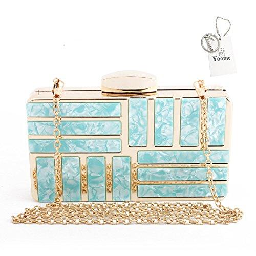 Clutch Yoome amp; Purse Chain Hardcase Marbling Blue Iron Handbag Acrylic Womens Pattern qqxgwECf