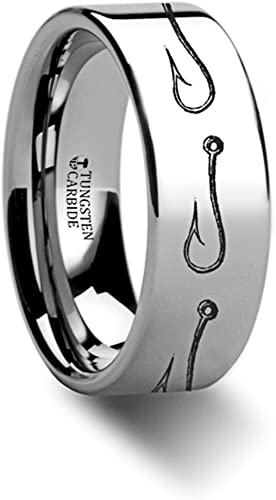Titanium Pisces Zodiac Black Beveled Engraved Ring 6MM, 8MM Size 4 to 13