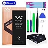 WallyGadgets iPhone 6 Battery Replacement Kit with Complete Repair Tools,Adhesive Tape,Tempered Glass Screen Protector and Instructions - 1810mAh 0 Cycle - 24 Month Warranty