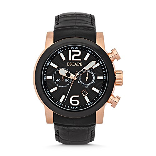 escape-mens-adler-rose-black-leather-chrone-watches