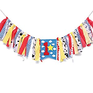 WAOUH Highchair Banner for 1st Birthday – First Baby Birthday Party Theme Decoration,Fabric Garland Cake Smash Photo Prop,Birthday Souvenir and Gifts (Blue Boy Girl Banner)