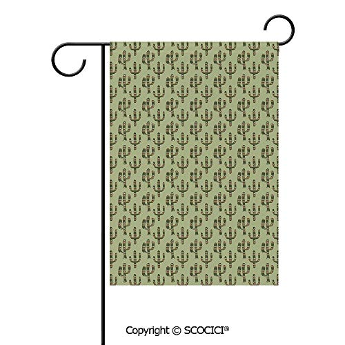 SCOCICI Double Sided Washable Customized Unique 12x18(in) Garden Flag Mexican Inspired Indigenous Foliage Abstract Chevron Nature Theme Decorative,Green Pistachio Green Caramel,Flag Pole NOT Included