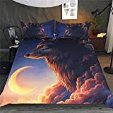 DICSSIN 3D Printing Quilt, 3Pcs Bedding Polyester Animal Wolf Light Weight Queen/King US Size (color6, King)