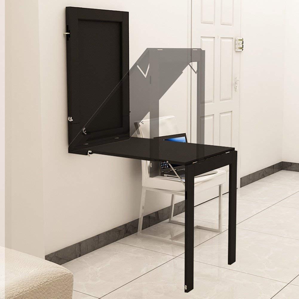 FCXBQ Väggmonterad droppblad bord fällbart matbord konvertibel skrivbord vikbord 90 x 60 cm (Färg: Vit) Svart