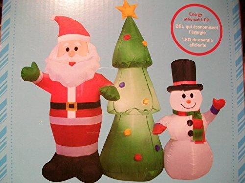 4 Ft Tall Santa Snowman And Christmas Tree With LED Lights