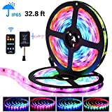 LED Strip Lights with Remote - 32.8 ft Waterproof LEDs Strip Light with Color Changing Music Sync,9 Keys 25 Modes RF Controller,300 Leds Flexible SMD 5050 RGB,Fixing Silicon Clips,12V 5A Power Supply
