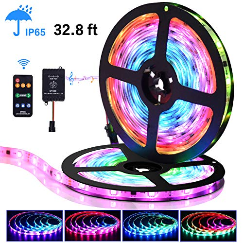 LED Strip Lights with Remote - 32.8 ft Waterproof LEDs Strip Light with Color Changing Music Sync,9 Keys 25 Modes RF Controller,300 Leds Flexible SMD 5050 RGB,Fixing Silicon Clips,12V 5A Power Supply ()