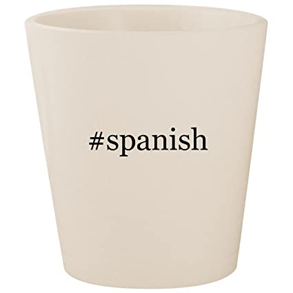 Amazon Com Spanish White Hashtag Ceramic 1 5oz Shot