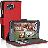 iGadgitz Premium Wallet Flip Red PU Leather Case Cover for Samsung Galaxy Alpha SM-G850F with Card Slots + Multi-Angle Viewing Stand + Screen Protector