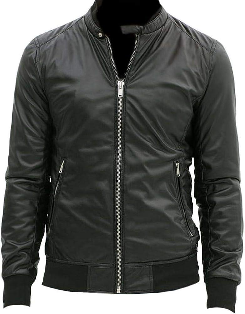 Stormwise Mens Fashion Slimfit Bomber Real Leather Jacket