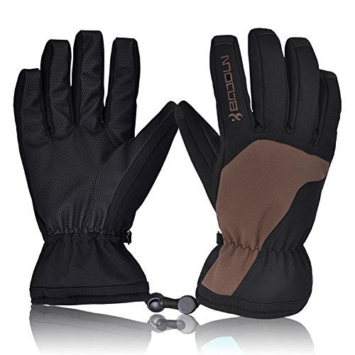 [New Release]Ski Gloves, Hicool Waterproof Thermal Winter Ski Gloves Snowboard Snowmobile Motorcycle Cycling Outdoor Sports Gloves-Men's (Brown, M)