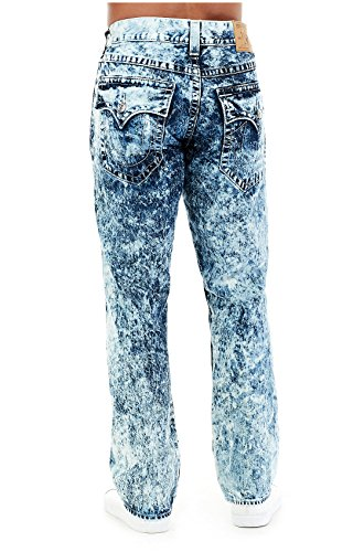 ad40f843f Amazon.com  True Religion Men s Straight Leg Relaxed Fit Acid Wash Jeans w  Flaps  Clothing