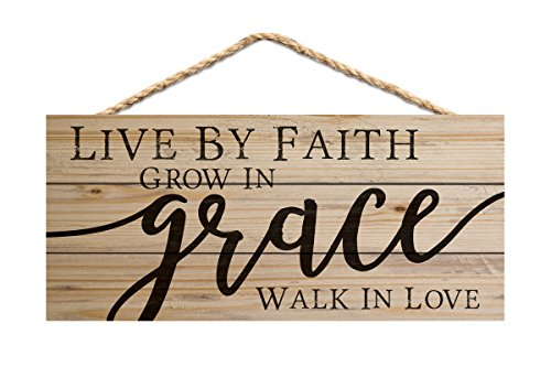 P. Graham Dunn Live by Faith Grow in Grace Walk in Love 10 x 4.5 Inch Pine Wood Decorative Hanging Sign ()