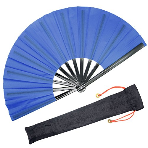 OMyTea Chinese Kung Fu Tai Chi Large Hand Folding Fan for Men/Women - with a Fabric Case for Protection - for Performance/Dance/Fighting/Gift ()