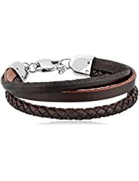 "<span class=""a-offscreen"">[Sponsored]</span>Men's Braided Design Leather Bracelet"
