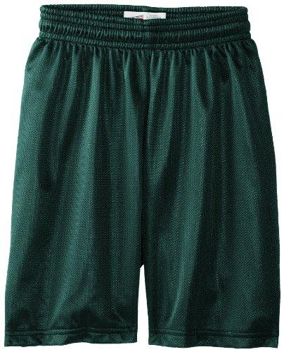 Soffe Big Boys' Nylon Mini Mesh Fitness Short, Dark Green, Medium (Green Mesh Shorts)