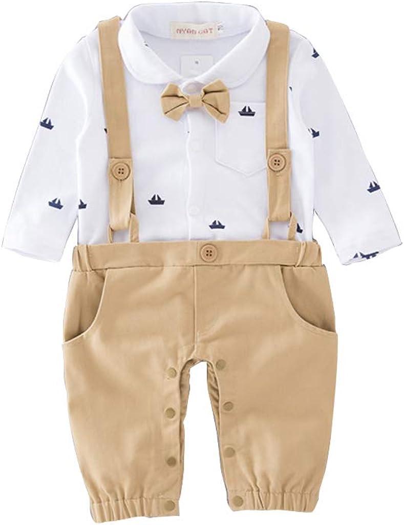 Baby Jungen Bodysuit Tuxedo Gentleman Kurzarm Strampler mit Hosentr/äger und Bowknot 1pc