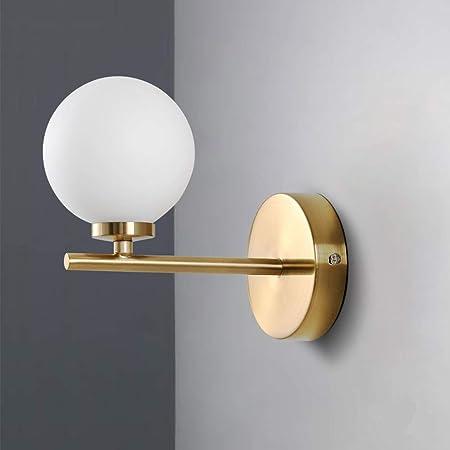 Moderne Murale Abat-jour en verre globe blanc Lampe salle de bain led Pour Chambre Couloir Lampe murale 1 E27 Lumi/ère-noir 5.9x7in Ball Applique murale