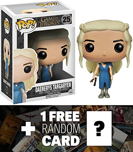 Daenerys Targaryen in Blue Outfit w/ Staff: Funko POP! x Game of Thrones Vinyl Figure + 1 FREE Official Game of Thrones Trading Card Bundle