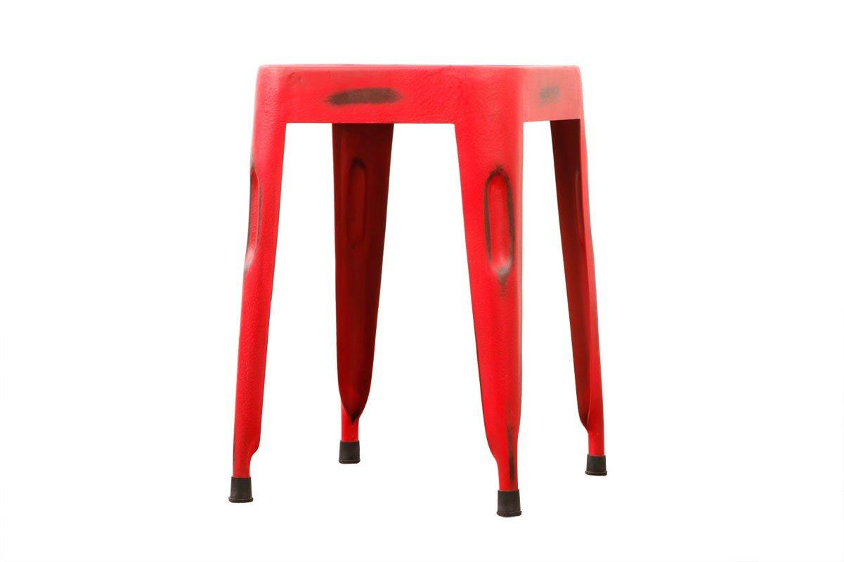 Miliboo sgabello design industriale metallo rosso factory