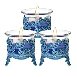 Luxantra Tlight Candle with Blue Crown Candle Stand Set of 3