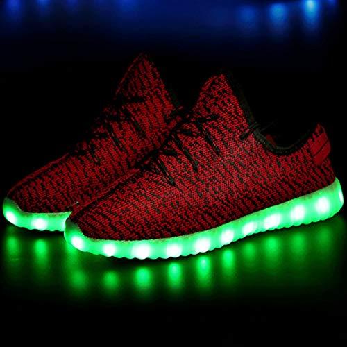 ZHZNVX Zapatos Unisex Tulle Primavera/Otoño Comfort/Novedad Zapatillas Zapatos para Caminar Talón Plano Punta Redonda con Cordones/LED Gris/Rojo / Verde Red