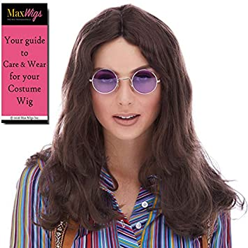 Amazon.com: Hippie Unisex Color 6 Brown - Sepia Wigs Deluxe ...