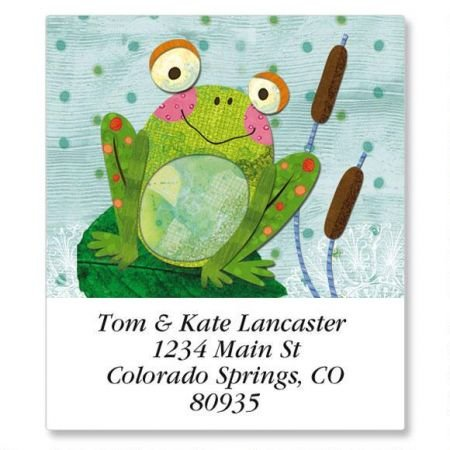 Hippity Hop Square Frog Return Address Labels - Set of 144 1-1/2