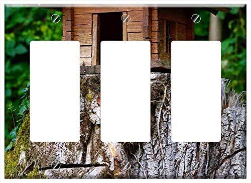 Switch Plate Triple Rocker/GFCI - Wood Model Cottage Natural - Natural Rocker Cottage