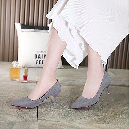 HXVU56546 Durante La Primavera Y El Otoño, Los Tacones Altos Zapatos De Mujer Solo Zapatos Zapatos De Satén Trabajar ,34, Gris