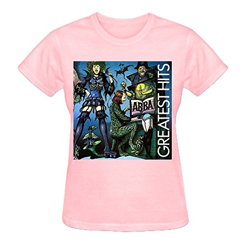 Latoca Abba Greatest Hits Premium cotton Cotton T Shirt For Women O-Neck Pink