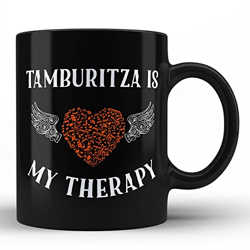 (Tamburitza Is My Therapy | Best Unique Gift for Music Musician Composer Instrument Lover / Tamburitza Player Black Coffee Mug By HOM)