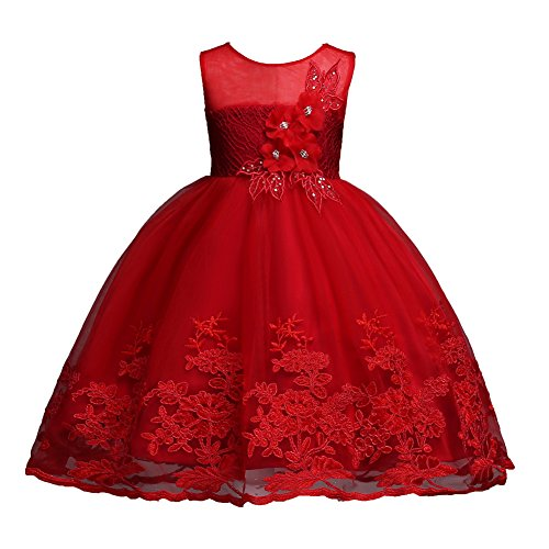 Little Girl Pageant Dress 5-6 Knee Length Sleeveless Prom Dress Size 7 Red Bridesmaid Lace A-Line Summer Dress for Little Girls 5-7 Years Christmas Party Vintage Elegant Evening Dress (Red 130)