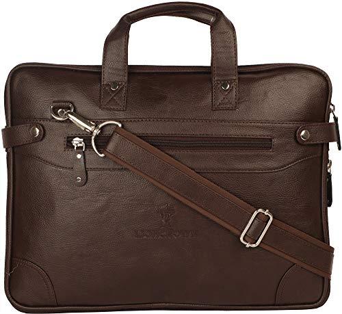 Lioncrown Vegan Leather 14 inches Slim Laptop Messenger Bag  Brown