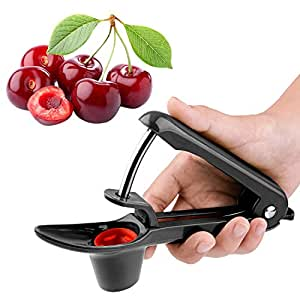 HENYD Manual Cherry Pitter Tool Olive Red Jujube Cherry Stone Remover Seed Remover Kitchen Utensils & Gadgets with ABS Plastic Food-Grade Silicone Cup Lengthened Splatter Shield (Black)